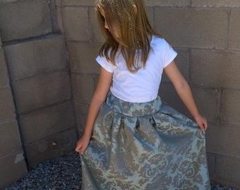 Floral Plated High Waist Skirt