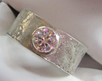 Reticulated Sterling Silver and CZ Ring