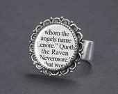 Edgar Allan Poe - The Raven Ring - Gothic Jewelry - Edgar Allan Poe Jewelry - Gothic Ring - Quoth the Raven Nevermore Literary Quote