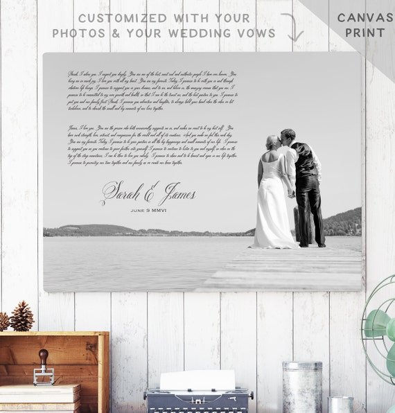 Wedding Vow Artwork: Canvas Wedding Vows Art Photo Vow Canvas First Anniversary