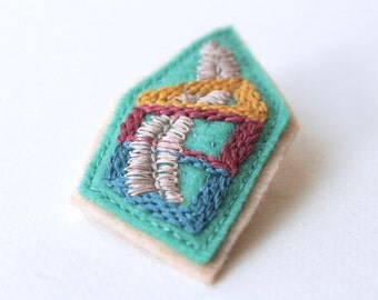 Mini Greenhouse Brooch #2, Hand Embroidered, 100% Wool Felt, Original 1/1.