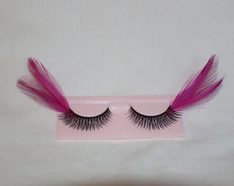 Hot Pink and black feather lashes with pink jewels