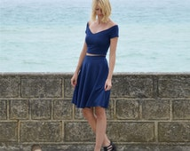 Coco Elegant Two Piece Dress Crop Top and Skater Skirt Set in Navy Blue. Womens Vintage Style Summer Outfit, Garden Party, Wedding