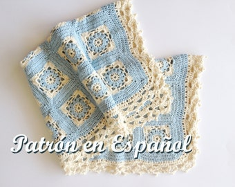 Baby Shawl Pattern, crochet Baby blanket pattern,Baby Knitting, Baby Blanket, Babies Shawl, PDF Patterm Only in Spanish.
