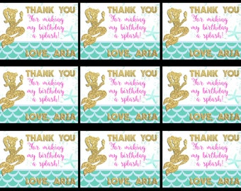 Mermaid Thank You Tags, Mermaid Gift Tags, Thank You Tags, Under the Sea Tags, Mermaid Birthday Tags, Birthday Stickers
