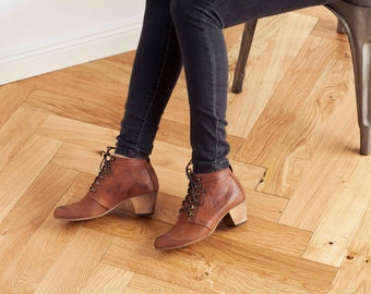 Winter Sale20% Off // Brown Leather Boots, Ankle Boots, Brown Lace-Up High Heel Boots, Leather Boots