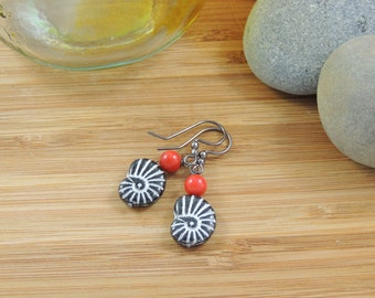 Coral and Ceramic Fossil Print Boho/Beach Drop Earrings