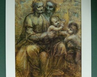 Virgin and Child with St Anne by Leonardo da Vinci, Christian Portrait, Religious Decor, Available Framed, Catholic Art Renaissance Wall Art