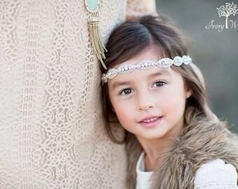 Flower Girl Headband - Beaded - Girls Headband - Clear Rhinestone - Christmas Headband