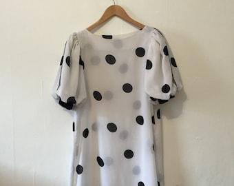 Vintage 80's polka dot sheer shift dress