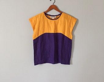 two tone linen top | marigold and plum linen crop top