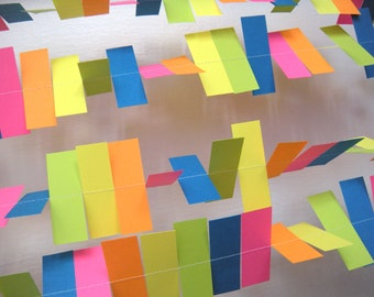 Birthday Party Paper Garland - Neon Rainbow