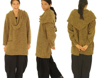 HR600BR sweater large size Boucle Gr. 42, 44, 46, 48, 50, 52 Medium Brown tunic long sleeve sweater