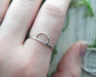 Half Moon Ring | Sterling Silver ring | Hammered ring | Silver stacking ring | Sterling Silver stack ring | Moon Ring