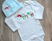 Personalized Snowman Shirt - First Christmas, Baby Boy, Baby Girl