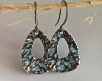 Patina Earrings  Bohemian Earrings  Boho Earrings  Turquoise Patina  Gypsy Dangles