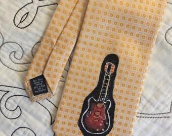 Hand Painted Guitar on Pronto Uomo Necktie