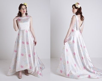 Made to Order, pastel floral wedding dress, with high low hem and a train, sizes UK 6-24