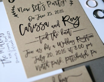 I do, me too, Now Let's Party! Elopement, Wedding Announcement, Post-Wedding Reception invitation + RSVP card, Kraft Paper, calligraphy