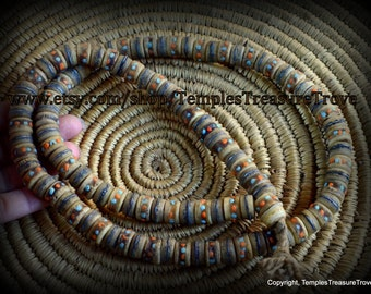 Vintage Prayer Mala Earth toned Nepalese Buddhist Yak Bone Brass Turquoise Coral Inlay 108 Beads Rustic Mala Rosary