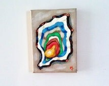Oyster Magnet Original Painting, Food Magnet, Painted Magnet