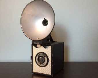 Vintage Ansco Shur-Flash Camera w/ Flash ~ 1950s ~ Great Design Piece