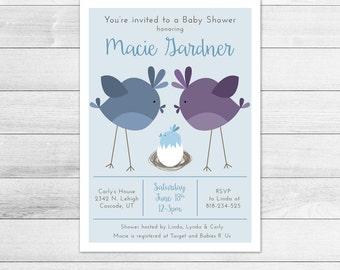 Nest Baby Shower Invitation, Boy Digital Printable Invite, Birds, Baby Bird, Momma Bird, Egg