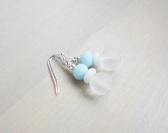 Turquoise Earrings, Turquoise and White Earrings, Beach Wedding