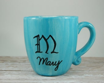Monogram Mug, Handmade Ceramic Monogrammed Mug, Name Mug, New Bride Gift, Wedding Gift, Teal Coffee Mug, Initial Coffee Cup, Tea Cup