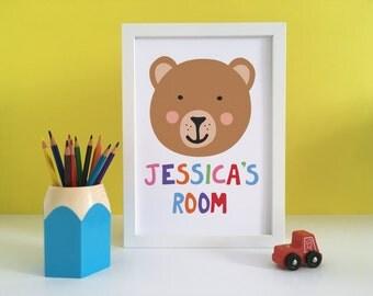 Bear Nursery Print, Brown Bear Art, Personalised Bear Print, Kids Room Print, Playroom Sign, Nursery Wall Art, Playroom Art, Kids Wall Art