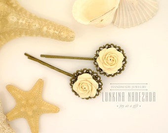 Ivory rose flowers bobby pins from polymer clay small gift for her