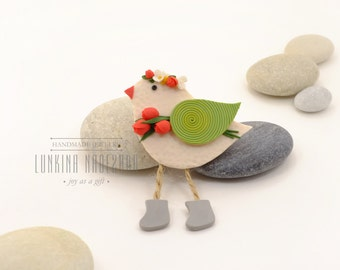 Red green polymer clay birdy brooch with small handmade spring flowers is beautiful womens gift