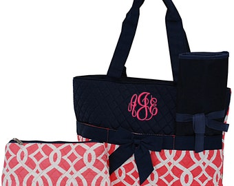 Personalized Infants Diaper Bag | Baby Diaper Bag | Toddlers Diaper Bag | Baby Shower Gift | Monogrammed Diaper Bag  | Coral Vine Navy Trim