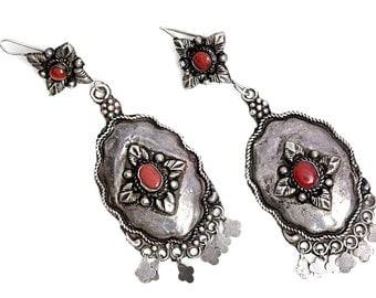 Mediterranean coral Red Coral Vintage Silver Stud Earrings Earring 1950