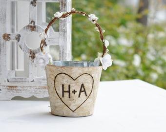 personalized birch flower girl basket, rustic flower girl bucket, birch wedding decor, shabby chic wedding, bohemian flower girl