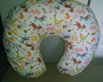 Farm Animals, Chicken, Cow, Pig, Sheep, Horse Flannel Boppy Cover