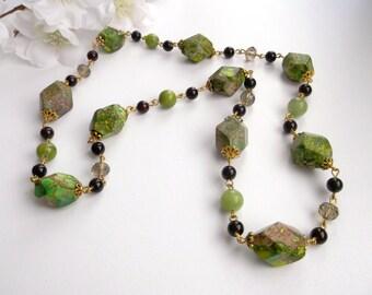 Green jewelry set Sediment jasper necklace Green summer set Green brown stone jewelry set green jade jewelry set green jasper necklace