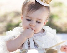 First Birthday Girl, First Birthday, First Birthday Girls, Crown Blush and Gold Felt Crown Headband Blush and Gold