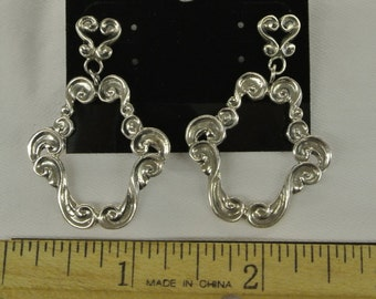 """Sterling Silver 925 Open Floral Design Floral Post Earring 1"""" Long #6017"""