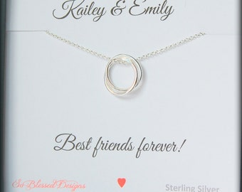Personalized Best friend gift, Graduation gift, Connected necklace, friendship necklace, interlocking charm