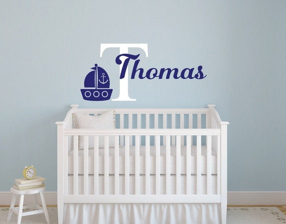 Nautical Nursery Decor Nautical Wall Decor Boy Name Decal