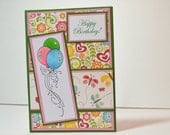Happy Birthday - Handmade Greeting Card - Balloons and Butterflies