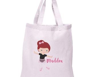 Ballerina Tote Bag | Ballerina Canvas Tote | Personalized Tote Bag | Red Hair Ballerina B-104