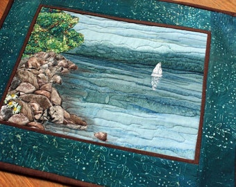 Quilted Wall Art, Lake Superior Wall Hanging, Blue Water, Sailboat, Rocks, Shore, Handmade Art Quilt, Original Landscape Quilt, Wall Hanging