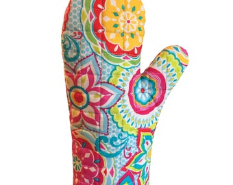 New! Multi colored  floral oven mitt