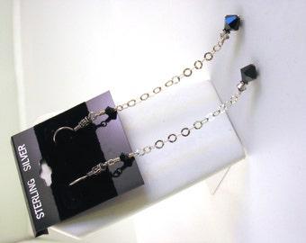 "Sterling Silver Jet Black Swarovski Crystal Dangly Earrings - 4"" Long"