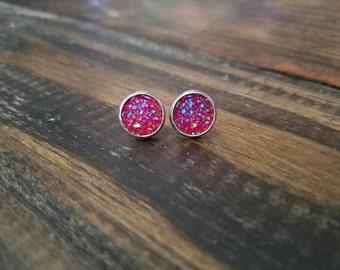 Red Faux Druzy Stud Earrings - 10mm - Stainless Steel Bezel Setting
