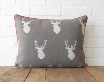 White Tail Stag Pillow Red Trim