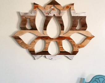 Reclaimed wood wall art / lotus flower wood wall art / wood wall art / barn wood wall art / boho decor / lotus wall art / yoga decor
