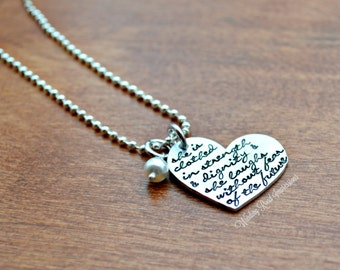 She Is Clothed In Strength- Hand Stamped Bible Verse Necklace with Swarovski Pearl